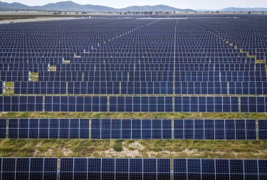 A solar farm near Gunnedah, NSW. Investments in clean energy are rapidly increasing.