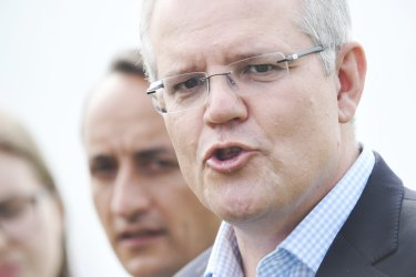 Prime Minister Scott Morrison and Liberal candidate for Wentworth, Dave Sharma, at Bronte Beach on Friday.