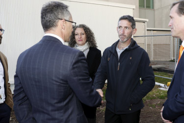 Aaron Cockman, father of four children that were murdered in WA, meets with Greens leader Senator Richard Di Natale at Parliament House in Canberra on  Wednesday.