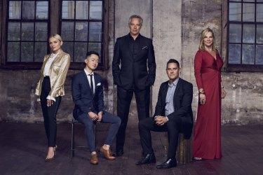 The cast of season 2: (l-r)Alli Simpson, Benjamin Law,Cameron Daddo,Alex Greenwich, and Skye Leckie.
