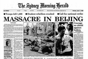 """Massacre in Beijing"": front page of the Sydney Morning Herald for June 5, 1989"