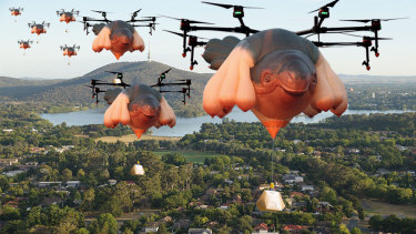 Drones, shaped like the infamous hot air balloon Skywhale, delivering burritos and coffee to your doorstep. One can only dream.... (digitally altered image)