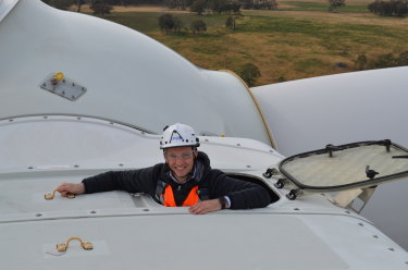 Matt Kean, NSW's Energy and Environment Minister, during a visit to the Sapphire Wind Farm near Uralla.