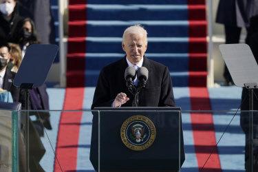 Joe Biden speaks during his presidential inauguration.