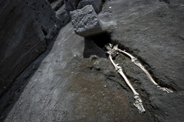 The legs of a skeleton protrude from beneath a large rock believed to have crushed the victim's head and chest during the eruption of Mount Vesuvius, which destroyed the ancient town of Pompeii in AD79.