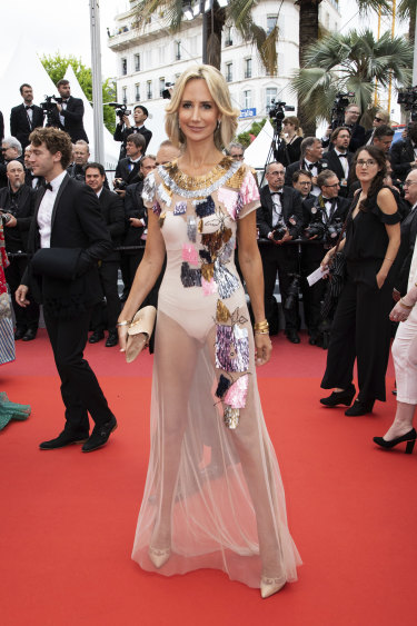 Fashion plate: Lady Victoria Hervey at Cannes this week.