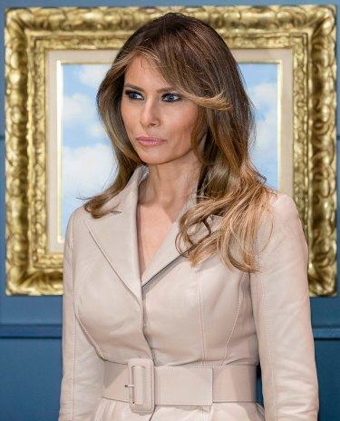 US First Lady Melania Trump belts up in Brussels.