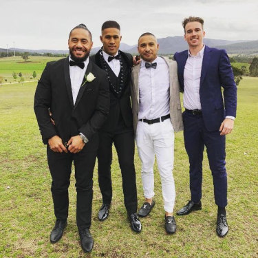 Michael Chee Kam (second from left) with Jorge Taufua, Jamil Hopoate and Clint Gutherson at his  wedding last year.