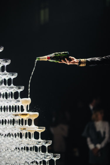 Champagne tower at Moët's 150 anniversary celebrations at Sydney Town Hall.