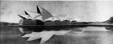 Jorn Utzon's winning design for a National Opera House at Bennelong Point published on the front page of  The Sydney Morning Herald, January 30, 1957.