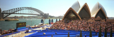 The setting for the finish of the men's triathlon was quintessentially Sydney.