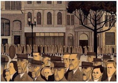 John Brack, 'Collins St, 5pm', 1955.