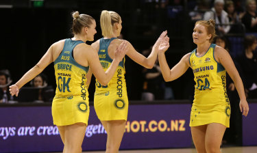 Steph Wood congratulates Courtney Bruce while the pair played for the Diamonds.