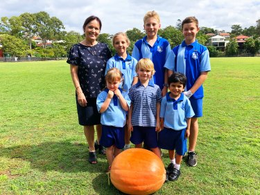Newmarket State School's Vicki Richards and students have been growing a giant pumpkin that will be in the running for the Ekka competition.