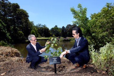 Tim Entwisle with Nick Cave planting a lime tree in 2014.