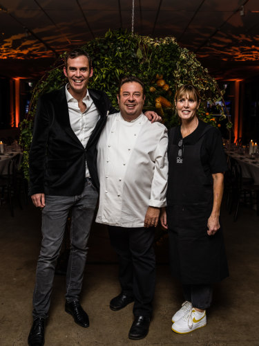 Two Good co-founder Rob Caslick with chefs Peter Gilmore and Skye Gyngell at Thursday night's fundraiser.