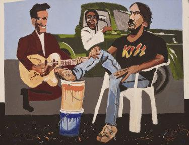 Archibald Prize 2018 finalist Vincent Namatjira 'Studio self-portrait'.