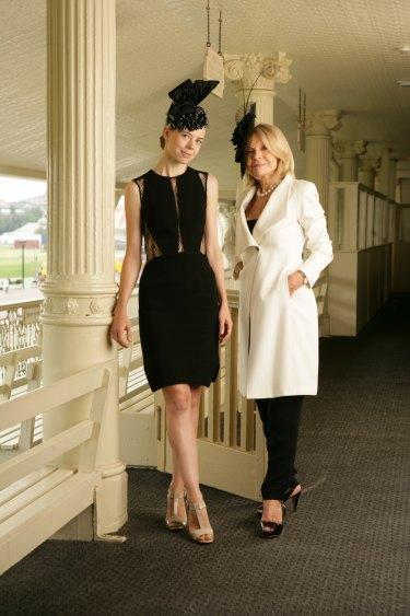 Carla Zampatti and daughter Bianca Spender modelling their designs at Randwick Racecourse. March 10, 2011.