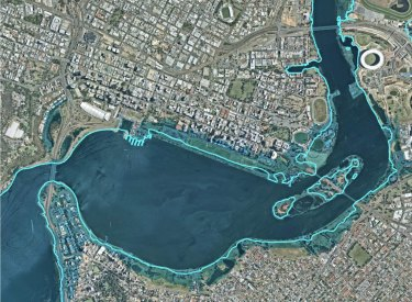 A map released by the WA's Department of Biodiversity, Conservation and Attractions shows the toll of climate change on riverside suburbs around Perth Waters.