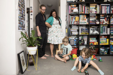 Parents Sara Carkagis and Tom Anderberg with their kids Wolf and Torsten in their apartment in Centennial Park.