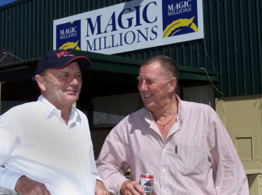 Harvey and Singleton at the Magic Millions sales in 2002.