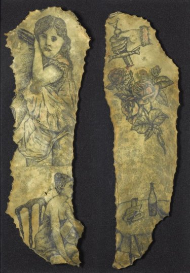 Science Museum objects Nos. A555 (left) and A542 (right). Preserved tattooed human skin (chest), belonging to the man known only as Fromain, courtesy of the Science Museum London.