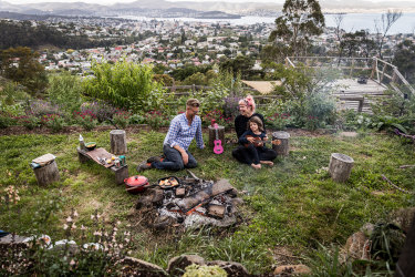 Family time with a view over Hobart.
