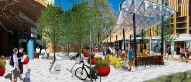An artist impression of what Challis Street could look like under the Dickson Place Plan