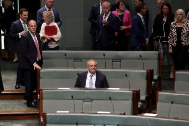 Prime Minister Scott Morrison during debate in the House of Representatives.