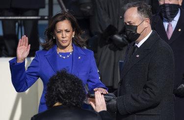 Kamala Harris is sworn in as the 49th US Vice-President.