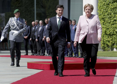 German Chancellor Angela Merkel and Ukraine's President Volodymyr Zelenskiy.