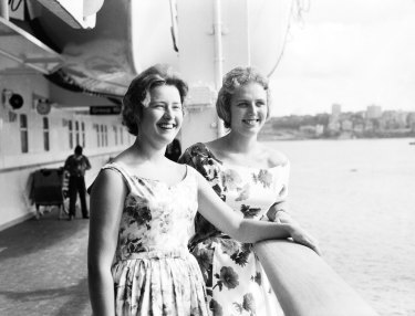 Passengers on deck of the ocean liner, Oriana, shortly after its arrival at Circular Quay, Sydney, on December 30, 1960.