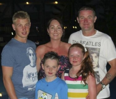 Danny Hodgson with his mum Nicola, dad Peter, brother Joe and sister Abby.