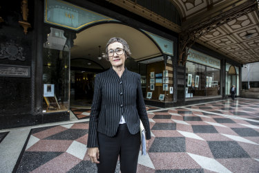 Sydney solicitor Catherine Hunter outside Sydney's Downing Centre courthouse.