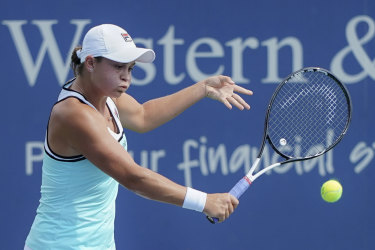 Ashleigh Barty returns shot to Maria Sakkari, of Greece.