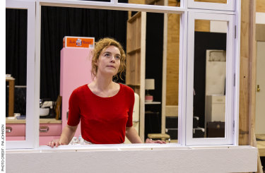 Nikki Shiels in rehearsals for Laura Wade's <i>Home, I'm Darling</i>.