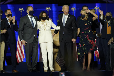 Kamala Harris and her husband Doug Emhoff, with Joe and Jill Biden.