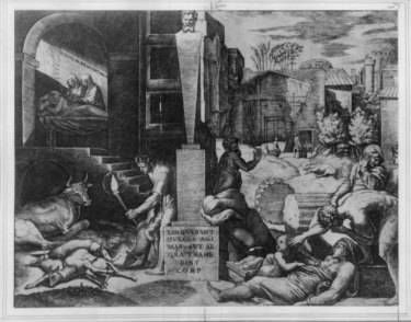 A line engraving by Marc Antonio Raimondi  shows the suffering of a town in Europe during the bubonic plague outbreak in the Middle Ages. Natural interest rates remained lower than normal in the wake of the outbreak.