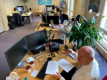 High Commissioner George Brandis during a shift taking calls from Australians in Britain affected by the coronavirus crisis.