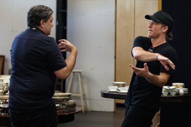 Actor Sam Worthington (right) in rehearsal with director Wesley Enoch for the Sydney Theatre Company's production of 'Appropriate'.