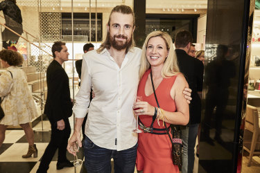 Mike Cannon-Brookes with wife Annie Todd at the re-opening of the Sydney Louis Vuitton flagship store.