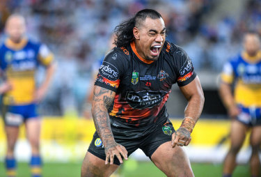 Party at the back: Mane Fonua's hairstyle is a constant source of mirth for teammates.