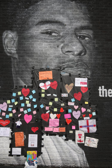 Some of the messages of support on the Rashford mural in Manchester.
