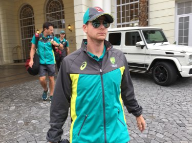 Steve Smith leaves his Cape Town hotel the morning after the ball-tampering scandal broke.