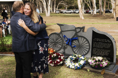 Nicole Doolan, the widow of cyclist Ron Doolan at the cycling rememberance memorial at Woronora Memorial Park.