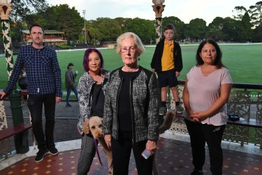 Residents such as Kathleen Reynolds (front) are concerned about the impact that a proposed aged care facility will have on Petersham Park.