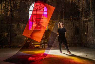 Consuelo Cavaniglia with her work Filters 11, 2019.