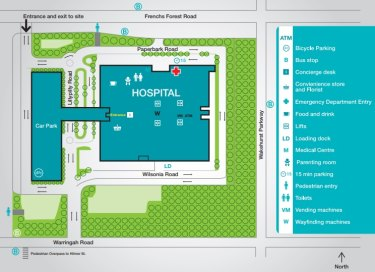 Northern Beaches Hospital site map.