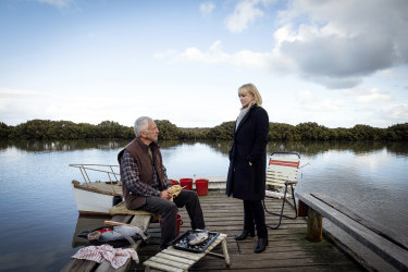 Guest star John Waters and Rebecca Gibney.
