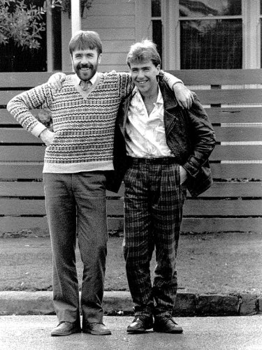 Martin (left) and Richard Flanagan pictured in 1985: the brothers enjoy each other's company.